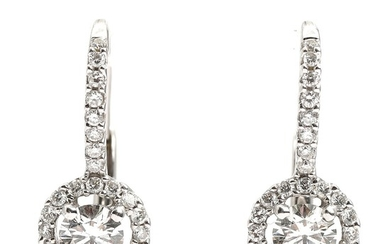 A pair of diamond ear pendants each set with a brilliant-cut diamond encircled by numerous brilliant-cut diamonds, mounted in 18k white gold. L. 1.7 cm. (2)
