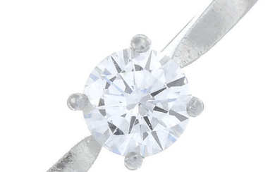 A platinum brilliant-cut diamond single-stone ring.