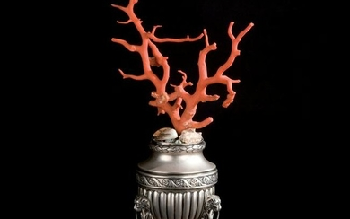 A red coral branch mounted on a Neapolitan silver vase