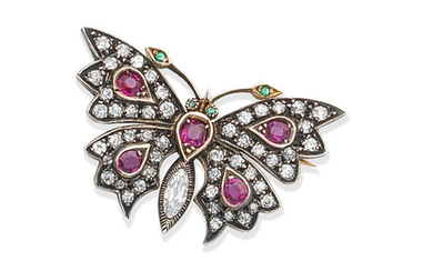 A ruby, emerald and diamond butterfly brooch