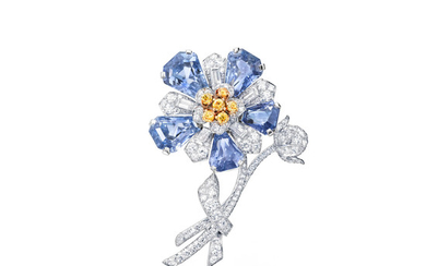 A sapphire and diamond flower brooch,