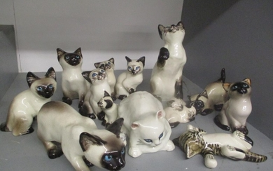A selection of Seneshall cat ornaments, together with three ...