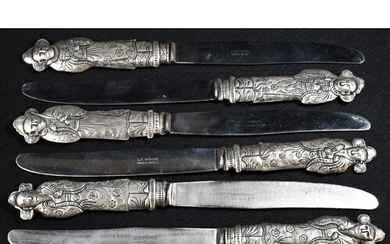 A set of six Chinese silver coloured metal table knives, eac...