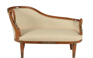 A walnut and upholstered sofa in Empire style