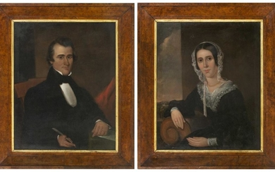 """AMERICAN SCHOOL, 19th Century, Pair of portraits, likely a husband and his wife., Oils on canvas, 36"""" x 29"""". Framed 46"""" x 39""""."""