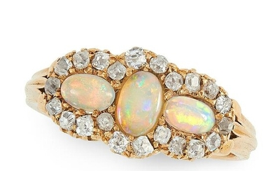 AN ANTIQUE VICTORIAN OPAL AND DIAMOND RING, 1888 in