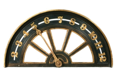 AN EARLY 20TH C IRON AND BRASS ELEVATOR FLOOR INDICATOR
