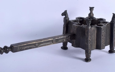 AN ISLAMIC BRONZE INCENSE BURNER, formed with animal