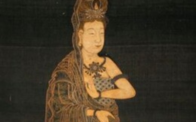 ANONYMOUS (LATE QING DYNASTY) PORTRAIT OF GUANYIN A Chinese painting, delicately painted with gold ink and colour on black silk, 65.5cm x 32cm.