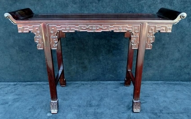 "ASIAN ROSEWOOD ALTAR TABLE 33""H 48""L 17.5""D"