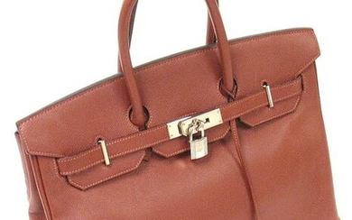 AUTH. GREAT CONDITION HERMES 35CM ROUGE GARANCE EPSOM