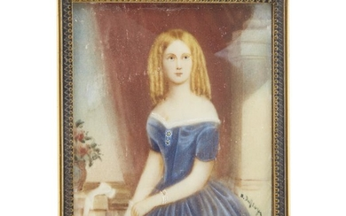 American School 19th century Portrait miniature of a young...