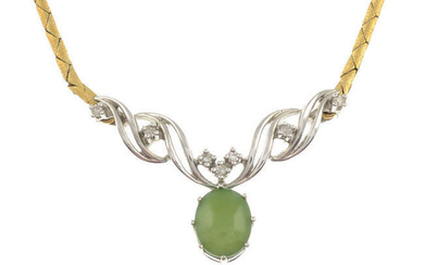 An 18ct gold nephrite jade and diamond necklace.