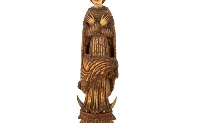 An 18th Century Goanese carved ivory of the Virgin...