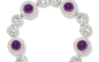An Amethyst, Diamond, Enamel, Platinum and Gold-Topped Platinum Bracelet