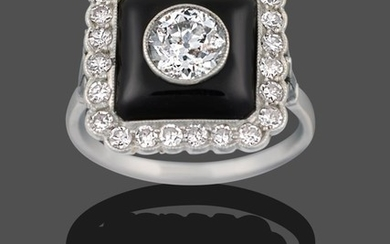 An Art Deco Onyx and Diamond Cluster Ring, an old...