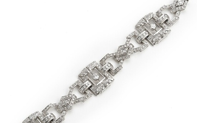 An Art Deco diamond bracelet set with numerous old, single and brilliant-cut diamonds weighing a total of app. 6.00 ct., mounted in platinum. Circa 1930.