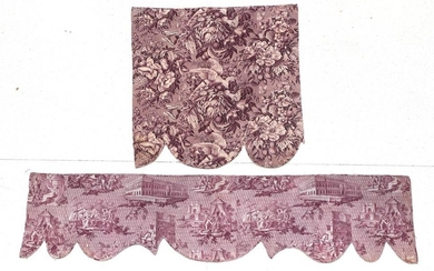 An Early 19th Century French Toile Pelmet, printed in purple,...