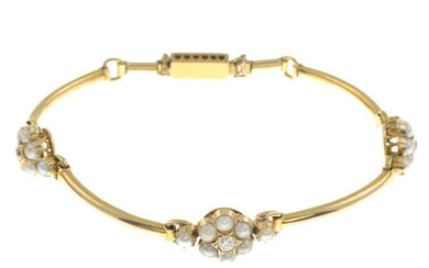 An early 20th century gold split pearl and old-cut diamond bracelet.