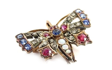 An early 20thC butterfly brooch, set with various precious...