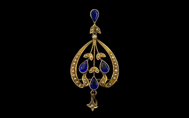 Antique Period Stunning 9ct Gold Open Worked Pendant Drop/Br...
