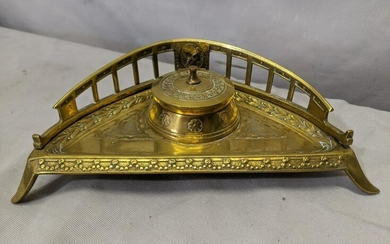Antique Victorian Brass Ornate Inkwell Stand