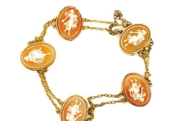 Antique carved cameo and yellow gold bracelet with five carv...
