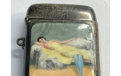Antique silver and enamel picture vesta case Birmingham silv...