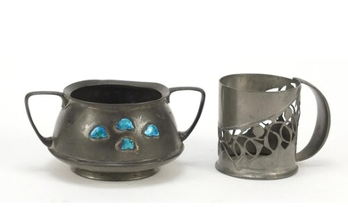 Arts & Crafts Liberty & Co pewter tumbler holder designed by...