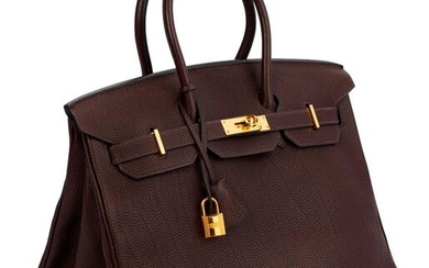 "Birkin bag ""35"" in brown Togo leather, gold metal clasps and fittings, double handle, padlock, two keys under bell"