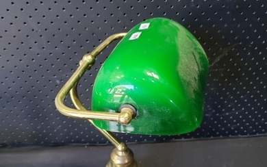 Brass Bankers Lamp with Green Glass Shade (H:37cm)