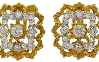 Buccellati Diamond Gold Clip-On EARRINGS Studs 1980s