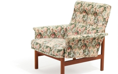 C. W. F. France: Easy chair with teak frame, upholstered with flowered fabric. Manufactured by France & Søn.