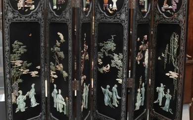 CHINESE HARDSTONE 6 PANEL FOLDING SCREEN