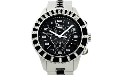 CHRISTIAN DIOR | REFERENCE 11431E CHRISTAL A STAINLESS STEEL, DIAMOND AND ONYX-SET CHRONOGRAPH WRISTWATCH WITH DATE AND BRACELET, CIRCA 2010
