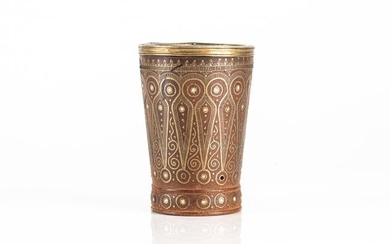 COLONIAL BRASS INLAID WOOD BEAKER