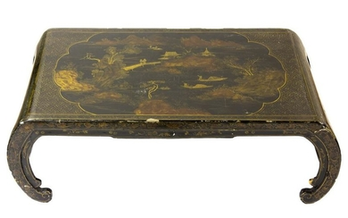 Chinese Black Lacquer Gold Painted Coffee Table