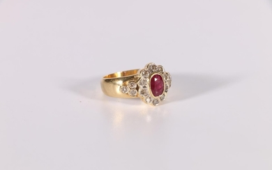 Cluster ring with an oval ruby and ten diamond brilliants, d...