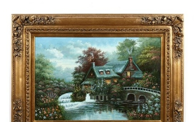 Contemporary Decorative Painting of an English Cottage