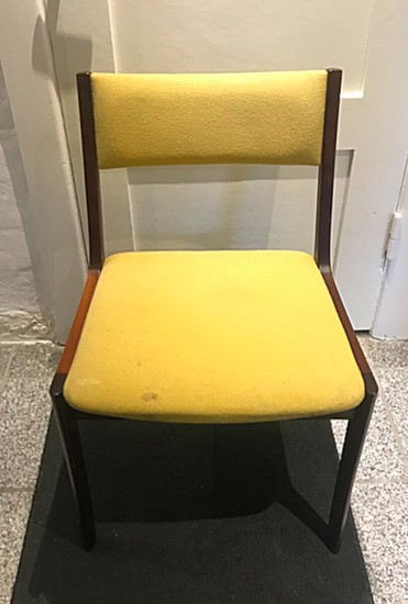 Designer unknown: A set of six mahogany dining chairs. Seat and back upholstered with yellow fabric. Manufactured and marked by Schou Andersen. (6)