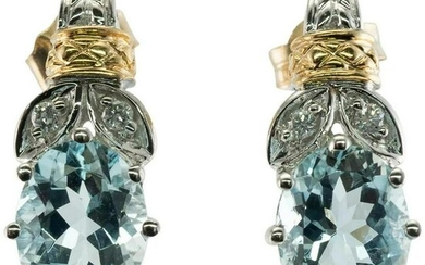 Diamond Aquamarine Earrings 14K White and Yellow Gold