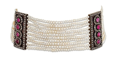 EARLY 20TH CENTURY SEED PEARL, RUBY AND DIAMOND CHOKER NECKLACE
