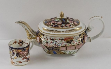 Early 19th C. Imari Derby Porcelain Teapot & Cup