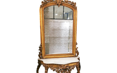 Elizabethan console with mirror in carved, moulded and gilt wood, circa 1870.