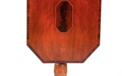 FEDERAL TILT-TOP CANDLESTAND In mahogany. Rectangular cut-corner top with conforming figured wood inlaid panel at center and figured...