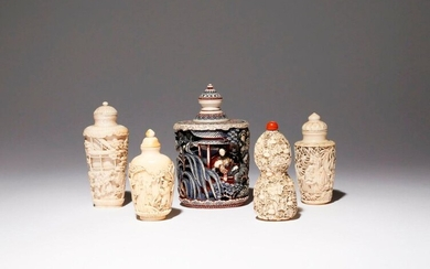 λ FIVE CHINESE IVORY SNUFF BOTTLES 19TH CENTURY One gourd-shaped and carved with insects perched amongst trailing fruiting gourd vines, another decorated with a scene of beauties and gentlemen in a garden by pavilions, the largest stained with pigment...