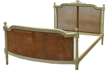 FRENCH LOUIS XVI STYLE PAINTED CANE BED