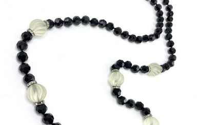 Flapper Jet & Crystal Bead Necklace
