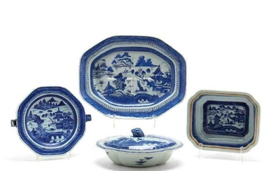 Four Chinese Export Blue Canton Serving Pieces