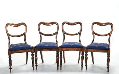 Four English Victorian Rosewood Open Back Side Chairs.